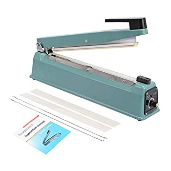 16in Impulse Heat Sealer Manual Sealing Machine for Poly Plastic Bag Sealing Food Meal Heat Seal Closer with 100 Poly Bags and 2 Extra Sealing Replacement Kit