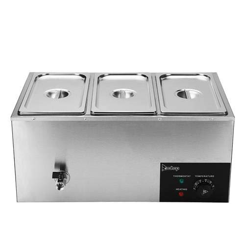 ZOKOP 3-Pan Commercial Electric Food Warmer, 110V Stainless Steel Bain Marie Buffet Food Warmer Stove Steam Table with Temperature Control for Parties, Catering, Restaurants 600W