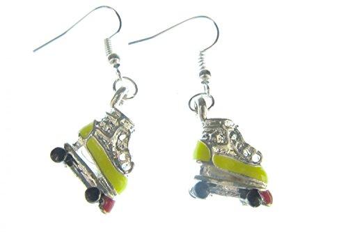 Miniblings Rollschuhe Ohrringe Diskoroller Retro Skates Ohrring emailliert gelb - Handmade Modeschmuck I Ohrhänger Ohrschmuck versilbert