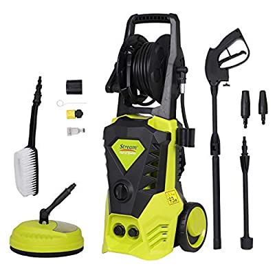 2000W 150Bar 450L/H Electric Pressure Washer Portable Patio Cleaner Car Power Washer with brush,turbo nozzle adjustable nozzle accessories for Garden Car Patio Yard Driveways by Stream