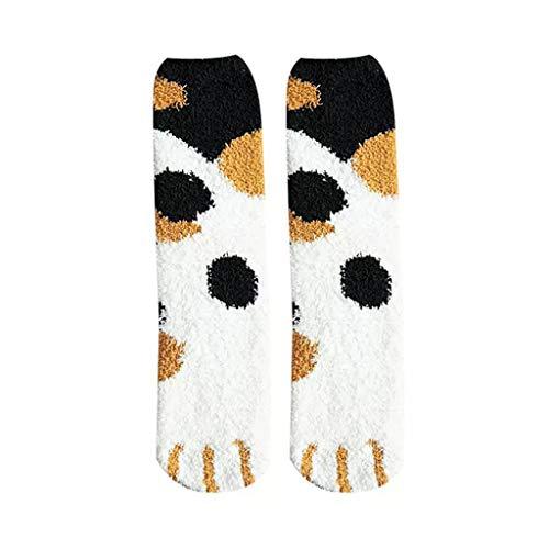 Chaussettes d'hiver chaudes et moelleuses pour femme Motif mignon pattes de chat - - Taille Unique