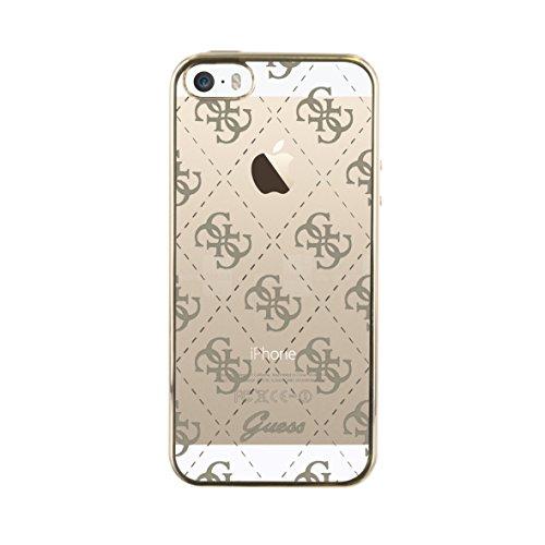 Guess Coque semi-rigide pour iPhone5/5S/SES/SE Transparent/Doré