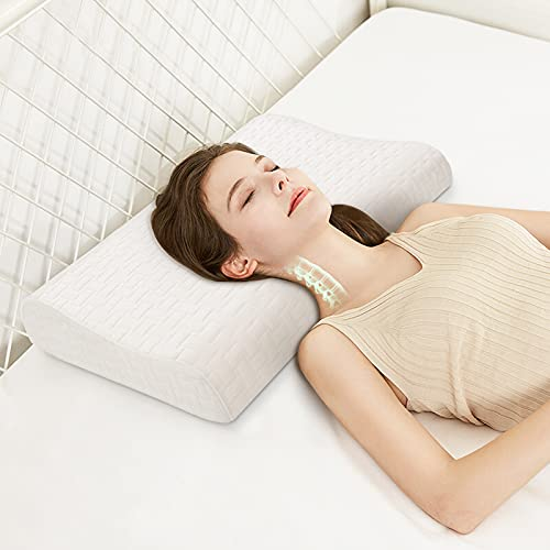 BEBEN Memory Foam Contour Pillow, Cervical Pillow for Pain Relief , Adjustable Neck Pillow for Sleeping, Ergonomic Side Pillow with Breathable Bamboo Cover for Back, Side Sleepers (20x12 inch, White)