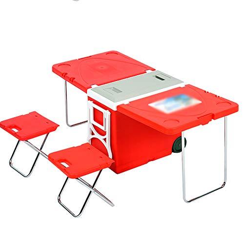 Table De Pique-nique Barbecue Pliante D'extérieur, Boîte D'isolation Pliable Multifonctionnelle Portable De 28 Litres, Tiroir De Réfrigérateur Avec Deux Chaises, Conception D'isolation Multicouche