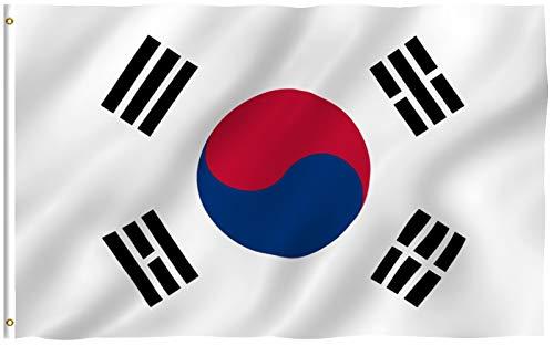 Anley Fly Breeze Bandera de Corea del Sur de 3x5 pies - Color vívido y Resistente a la decoloración UV - Encabezado de Lona y Doble Costura - Banderas Nacionales Coreanas S Poliéster con Arandelas