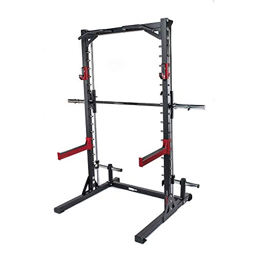 Fuel Fitness Smith Machine Multipresse HR500 mit Klimmzugstange, Multipresse Squat Rack mit geführter Langhantel mit Sicherheitsablagen, Kniebeugeständer mit Klimmzugstange, bis 272kg belastbar