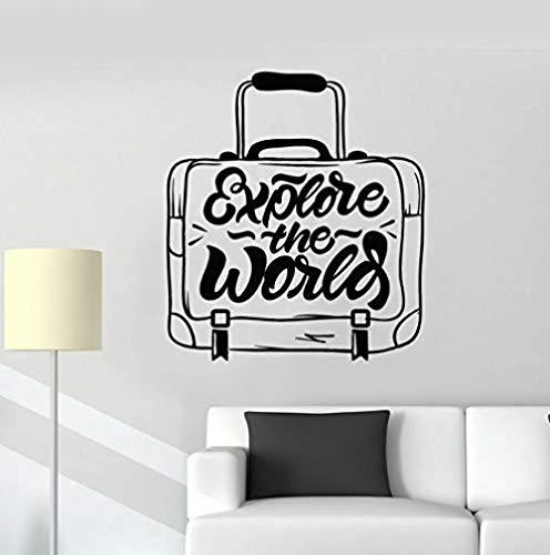Pegatinas de vinilo para pared decoración de la pared pegatinas de bricolaje maleta de viaje descubrimiento de palabras dormitorio de viajes del mundo agencia de viajes diseñador de interiores 42X46cm