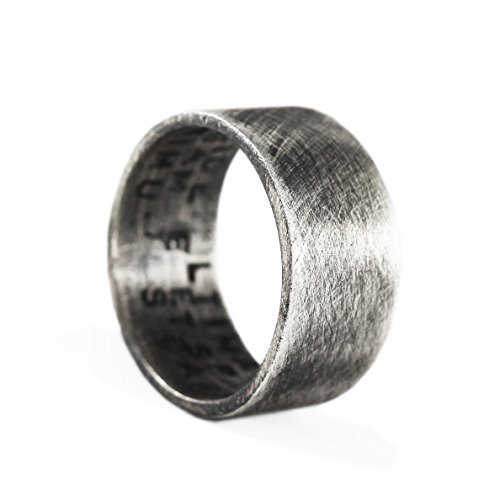 Mens Wedding Band Sterling Silver Ring Personalized Ring Custom Ring Hand Stamped Mens Ring Mens Jewelry Mens Wedding Ring Mens Silver Ring Oxidized Ring Wedding Band Silver Ring Mens Gift