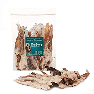 PawGang 100% Natural Treats - Rabbit Ears with Fur 200g for Dogs - Puppies Young Adult Old Small and Large Dog - Air Dried Chews - Healthy Hypoallergenic - Low Fat Grain Free - Perfect for Barf Raw