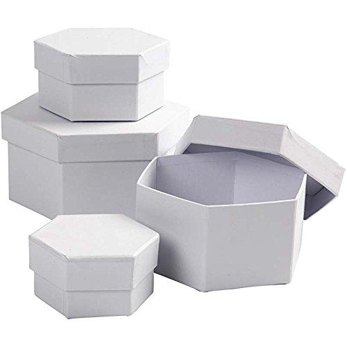 Creativ 100263 Sechskant-Boxen, D: 6,5+8+10+12 cm, 4 Stück