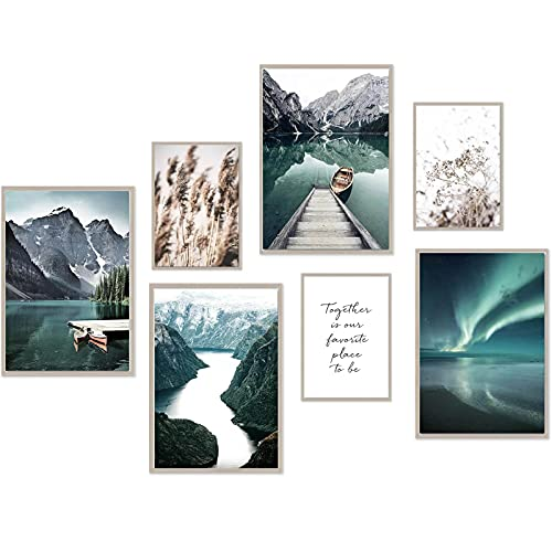 Moderno juego de pósteres – Juego de cuadros vintage de montaña, natural, juncos, para salón, dormitorio, decoración, juego de 7 unidades, sin marco (4 x A3 | 3 x A4)