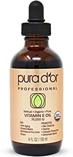 PURA D'OR Organic Vitamin E Oil (4oz / 118mL) 70,000 IU 100% Pure Natural USDA Organic For Skin Face Hexane Free w/Sweet A...