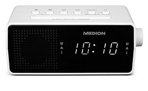 Medion E66407 PLL Uhrenradio (LED-Display, Displaydimmer, PLL-UKW-Radio, 10 Senderspeicher, Einschlafautomatik) weiß