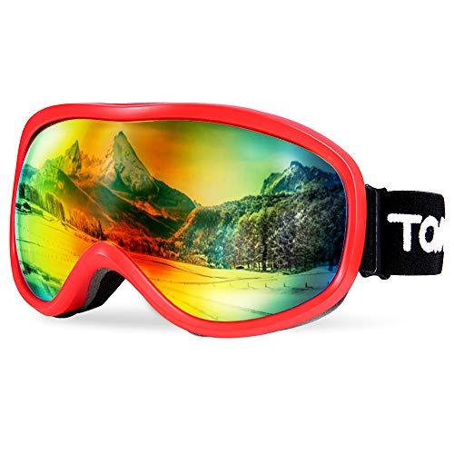 TOMSHOO Gafas de esquí, Gafas Antideslizantes para Deportes de Nieve de Invierno con UV protección, Anti-Niebla & Resistentes a los rasguños & Prueba de Polvo (VLT = 25.4%)