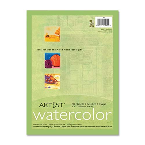 Pacon Corporation 4925 Watercolor Paper, 90lb, 9-Inch x11-Inch, 50SH/PK, White