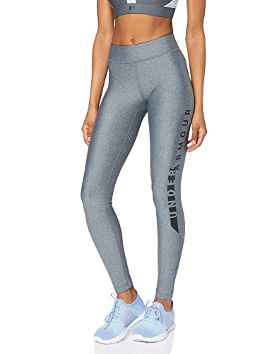 Under Armour Heatgear Graphic Leggings, Mujer, Gris (Pitch Gray Light Heather/Black 012), M