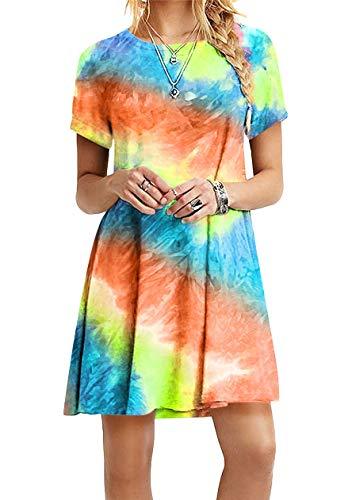 OMZIN Damen Kleider Tunika Tshirt Kleid Kurzarm MiniKleid Sommerkleid für Damen Brautkleid Rundhals Elegantes Kleid Orange XS