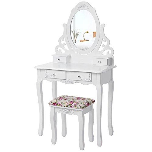 Songmics Schminktisch mit Spiegel und Hocker, Lederimitat, weiß, 75 x 40 cm