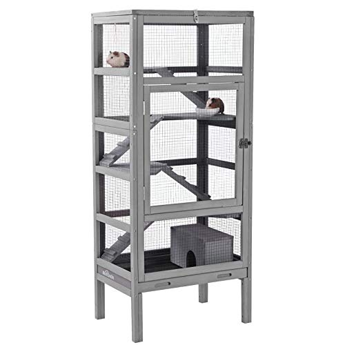 Aivituvin Wooden Ferret Cage Rats House 55' for Squirrel and Other Small Animal Deluxe Critter Nation Home with Pull Out Tray,Large 5 Levels Living Space