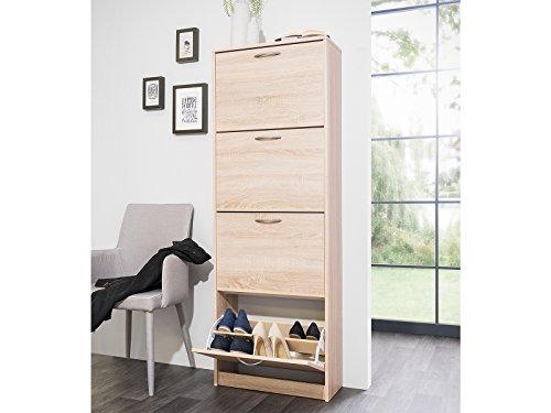 möbelando Schuhkipper Schrank Schuhschrank Schuhregal Schuhaufbewahrung Holz Mavin II (Sonoma-Eiche)