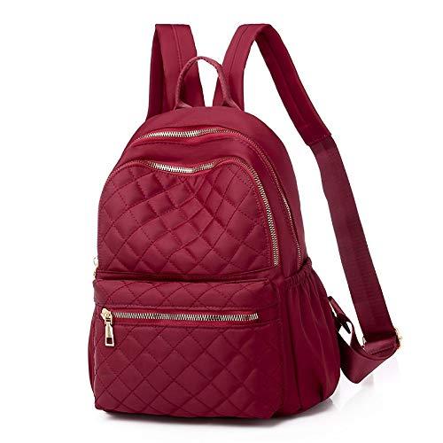 CAONIDAYE Western Bag Mujer Moda Moda Rombo Bordado Hilo Portátil Mochila Salvaje Estudiante Bolsa Escolar Rojo