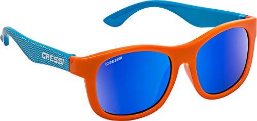 Cressi Teddy Sunglasses, Occhiali da Sole Unisex Bambino, Azzurro Onda Orange/Lenti Specchiate Blu, 3-5 Anni