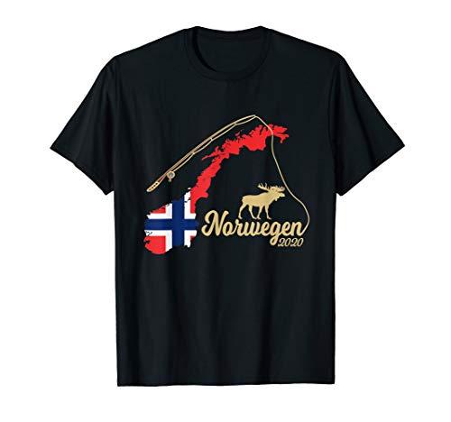 Norwegen Landkarte Angel Elch mit Angelrute 2020 T-Shirt