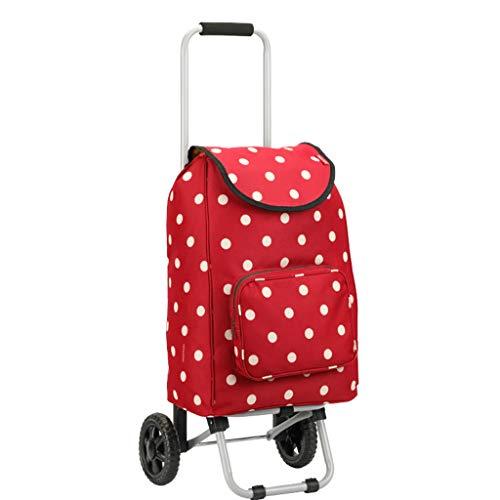 Carro de la compra del lavadero de la tienda de comestibles plegable con 2 ruedas Marco de hierro de la prenda impermeable Carro de la tienda del paño de Oxford impermeable para subir escalera