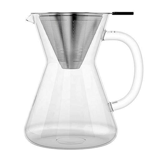 Cafetera Pour Over con filtro de café permanente de acero inoxidable sin papel y jarra de cristal de 400 ml, filtro manual Drip Coffee.