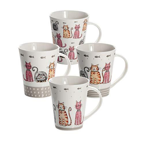 4 Set große Tassen Kaffeebecher Mugs Keramik Porzellan, Spülmaschinenfest weiß mit Katzen Design, Schöne Geschenkideen für Katze und Tier Liebhaber Geschenke