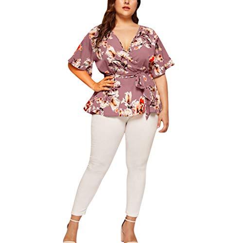 Magliette Plus Size Floreale Scollo a V T-Shirt Manica Corta T-Shirt Casual Cintura Stampata Casual Donna (XL,2- Viola)