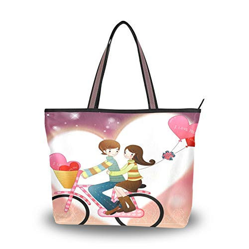 DAOXIANG Valentine's Day Women Tote Bags Top Handle Satchel Handbags,Valentine's Day Gift Heart Bicycle (1) Large-Capacity Shoulder Bag Shopping Bags for School Work Travel (M)