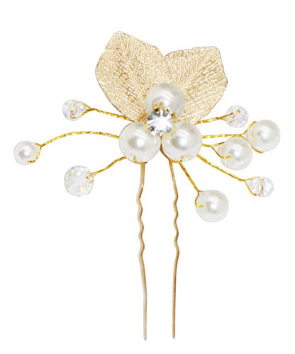 CRIZAN Girls Artificial Flower Crown Wedding Hair Wreath Floral Headband Garland Wrist Band Set (gold leaf with pearl)