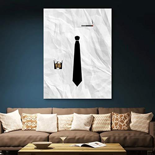 Lienzo Arte de la pared Corbata negra abstracta Imagen de vino ahumado Pintura Carteles e impresiones Sala de estar Oficina Decoración del hogar 23.6 'x35.4' (60x90cm) Sin marco