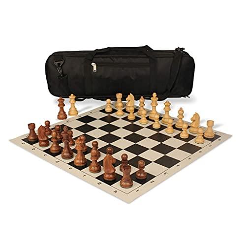 エキスパートインターナショナルチェス、ポータブルバックパックセットには木製のチェスの駒と革製の折りたたみ式チェス盤ゲームが含まれています(色:黒)