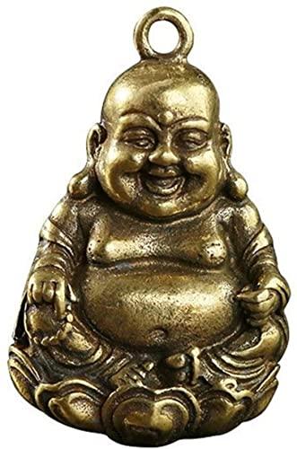 GDEVNSL Mini Estatua de Buda riendo de latón, fundición de latón Retro y Llavero de Buda Sonriente Antiguo, Colgante de Coche, decoración del hogar, artesanía de Buda