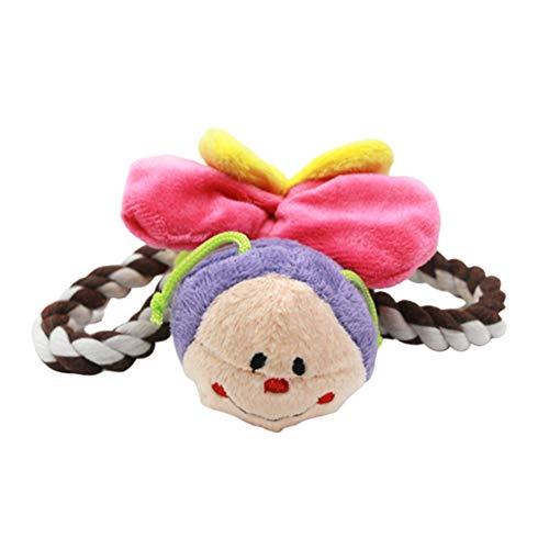 Dyyicun12 hond pluche speelgoed, huisdier hond katten puppy katoen touw mier vlinder lieveheersbeestje pluche pop piepende kauwspeelgoed, Butterfly**