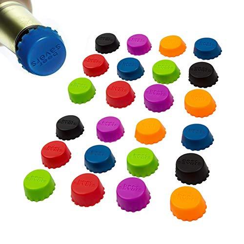ROBAKO Tappi di Bottiglia/Tappi a Corona/Tappi di Birra in Silicone riutilizzabili/Tappi di Chiusura in Silicone colorato per Bottiglie di Birra a Tenuta stagna (24 Pezzi)