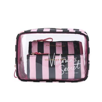 Portable PVC Cosmetic Bag 3-Piece Set Outdoor Travel Bag Waterproof Wash Bag Fashion Transparent Storage Bag C22*8*16cm