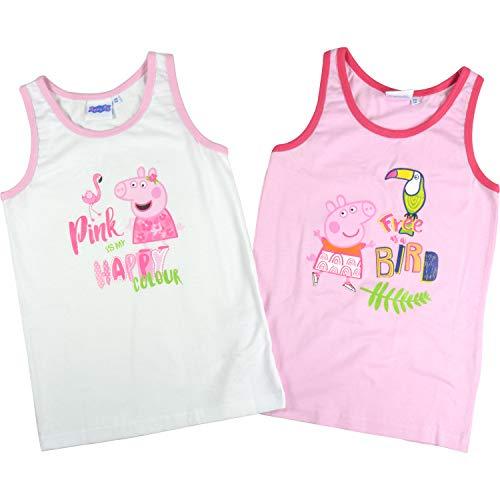 Peppa Wutz – Mädchen Hemdchen 2er Pack Gr. 110/116 Unterhemd Kinder Tank Top