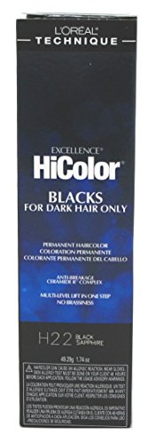 Loreal Excel Hicolor H22 Tube Black Sapphire 1.74oz (2 Pack)