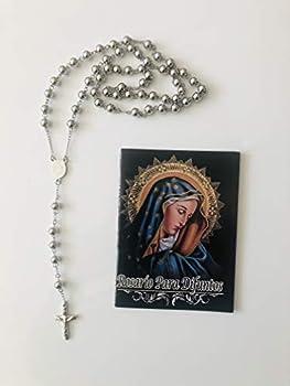 Prayer Set  Stainless Steel Rosary and Prayer Book/Libro de Rezo Rosario Para Difuntos