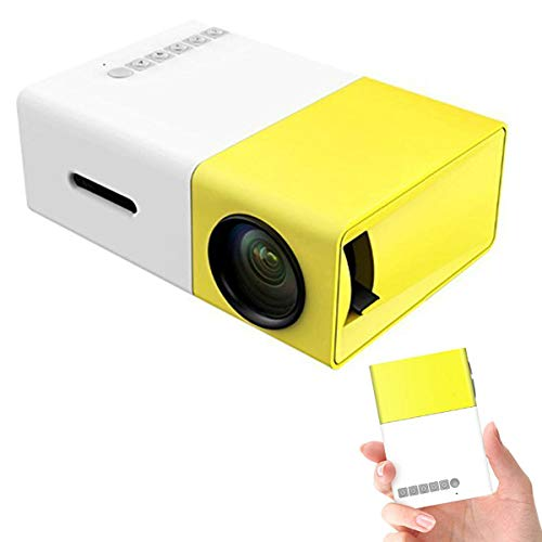 Mini Projector, YG300 Portable LED Projector Support PC Laptop USB Stick USB/SD/AV/HDMI Input for Video/Movie/Game/Home Theater Video Projector- Best Gift-Yellow (Yellow)