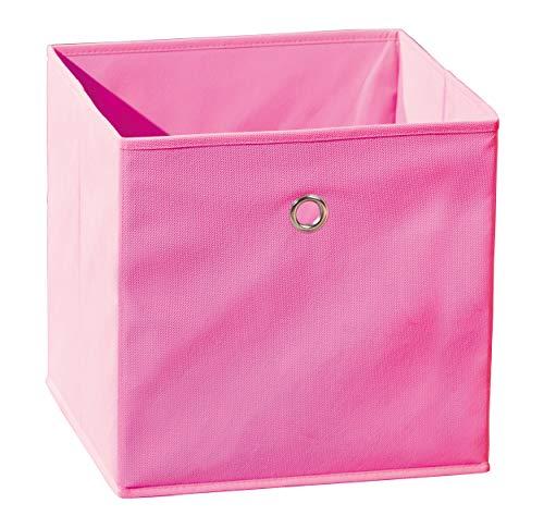 Inter Link Faltkiste Faltbox Faltbare Aufbewahrungsbox mit Metallöse aus Stoff in Pink