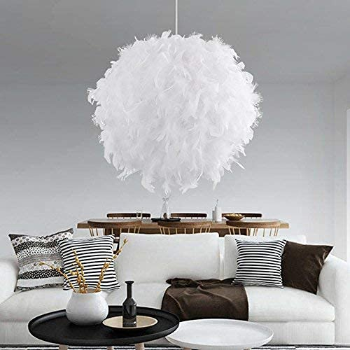 Pantalla de lámpara de techo con plumas de color gris, hecha a mano, lámpara LED, diseño moderno, para la decoración de habitaciones de bebé en el dormitorio (E27, 30 cm)