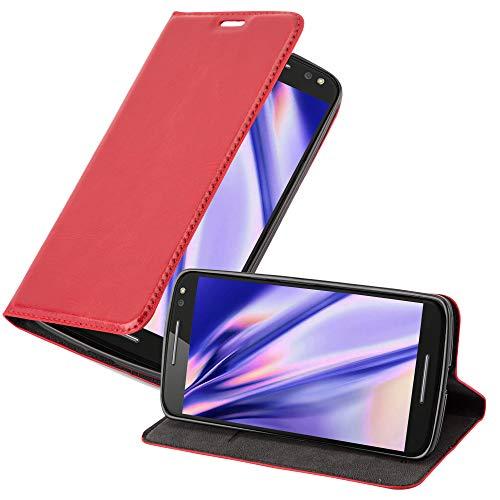 Cadorabo Hülle für Motorola Moto X Style in Apfel ROT - Handyhülle mit Magnetverschluss, Standfunktion & Kartenfach - Hülle Cover Schutzhülle Etui Tasche Book Klapp Style