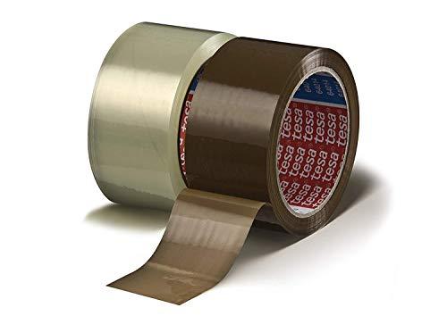 tesa 64014 Klebeband Paketklebeband Packband 66m x 50mm (gemischtes Aktionspaket / 6 Rollen Braun + 6 Rollen Transparent = 12 Rollen)