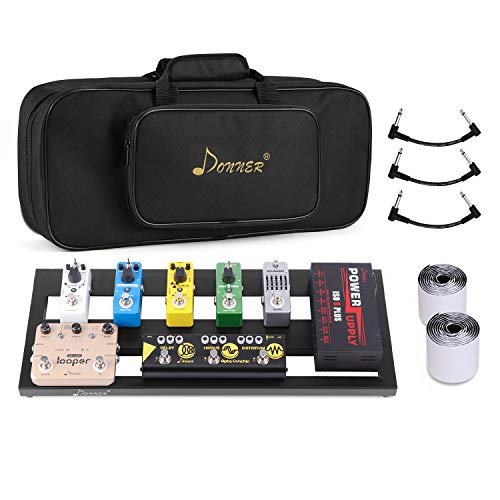 Donner Guitar Pedal Board Case DB-2 Aluminium Pedalboard 20'' X 8'' X 1.2'' with Bag, Including 40'' Pedal Mountain Tape