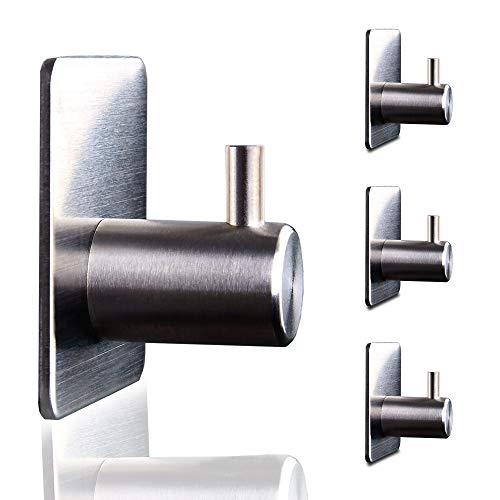 STAMIC - 4 Selbstklebende Haken Aus Rostfreiem Edelstahl - Handtuchhaken Für Bad, Küche & Mehr - Handtuchhalterung Ohne Bohren