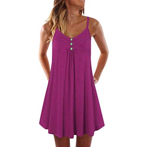 Fannyfuny Damen Einfarbig Sexy Ärmelloses mit Knopf Mini Kleider Frau Strand Freizeit Kleider Frauen Elegant Party Kleider Fließendes Kleid Sommerkleid Swing Kleid S-5XL